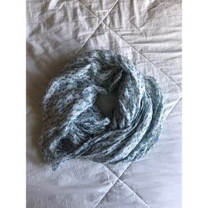 Blue and Green Floral Infinity Scarf